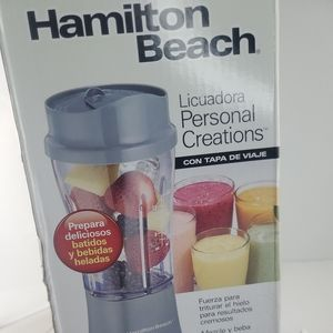 Hamilton Beach Personal Blender Single Serve With 14 oz Travel Cup and Lid !